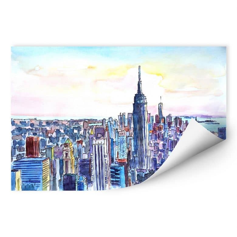 Wallprint Bleichner - Manhattan Skyline - Aquarell