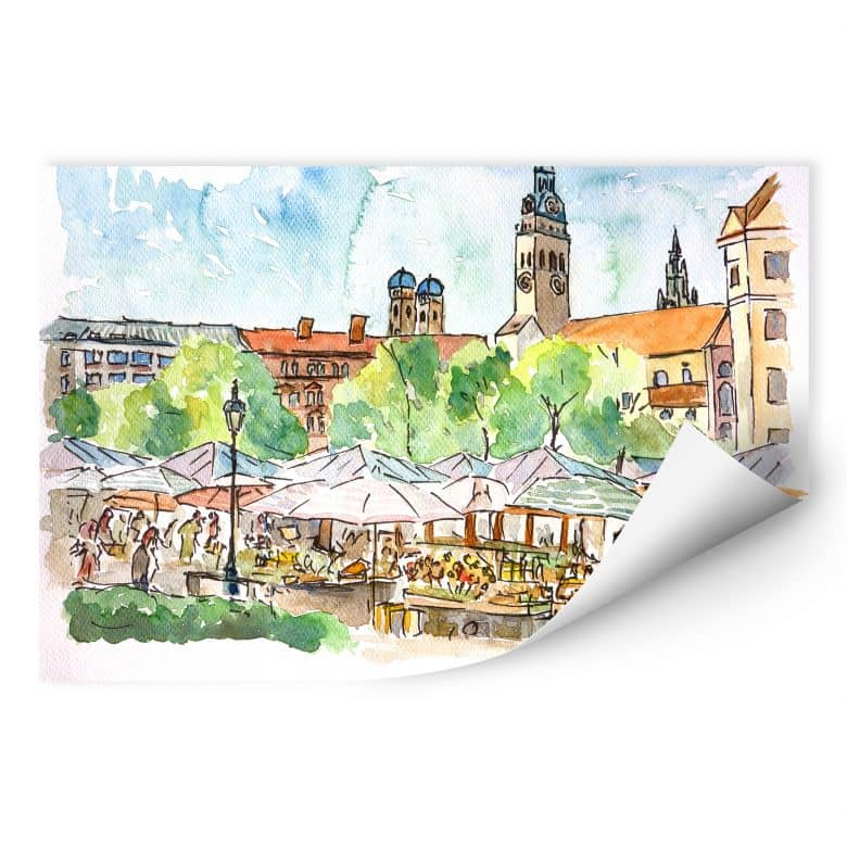 Wallprint Bleichner - München - Viktualienmarkt