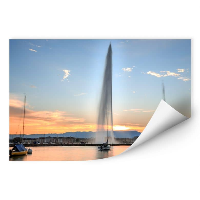 Wallprint Wasserfontäne im Genfer Sonnenuntergang