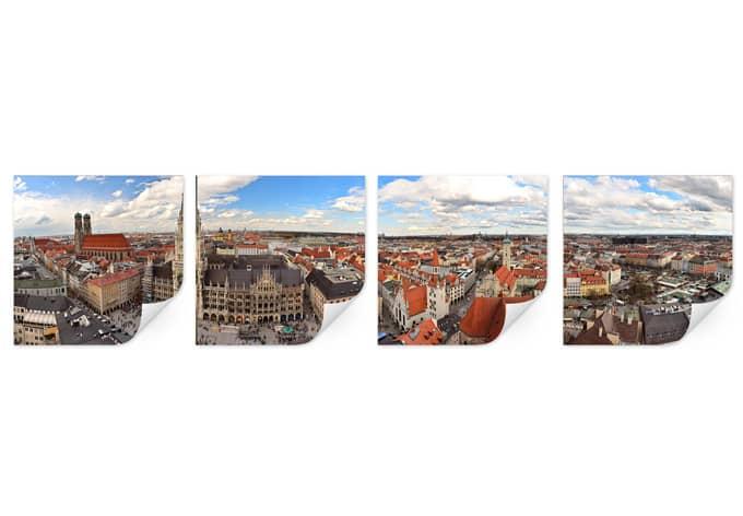 Wallprint W - Münchener Skyline Panorama Set (4-teilig)