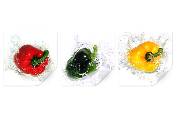 Wallprint W - Splashing Paprika (3-teilig)
