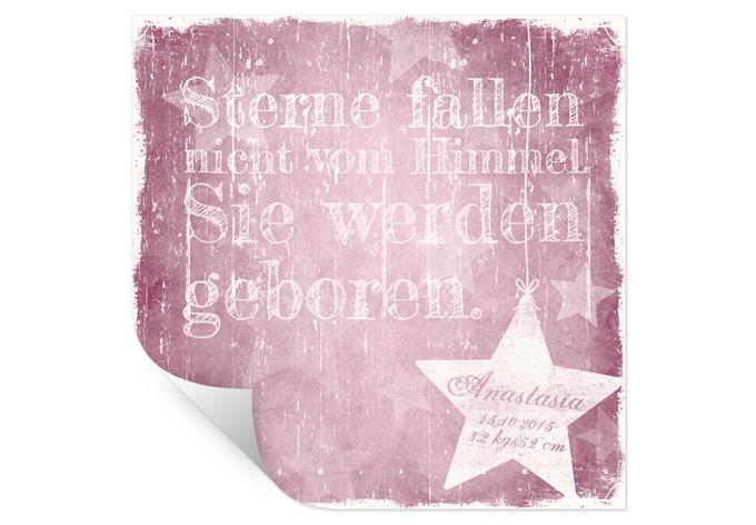 Wallprint Wunschtext + Name - Sterne fallen nicht vom Himmel (rosa)