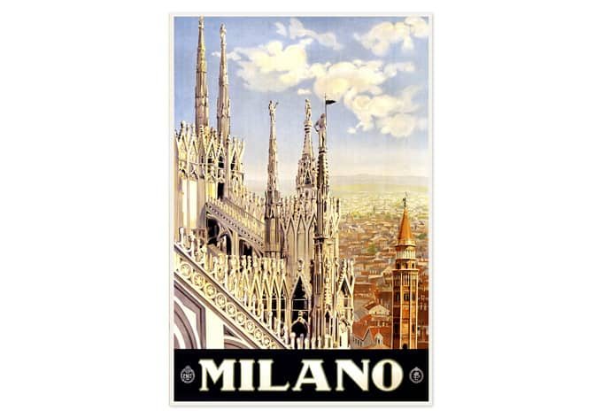 Wallprint Vintage Travel - Milano