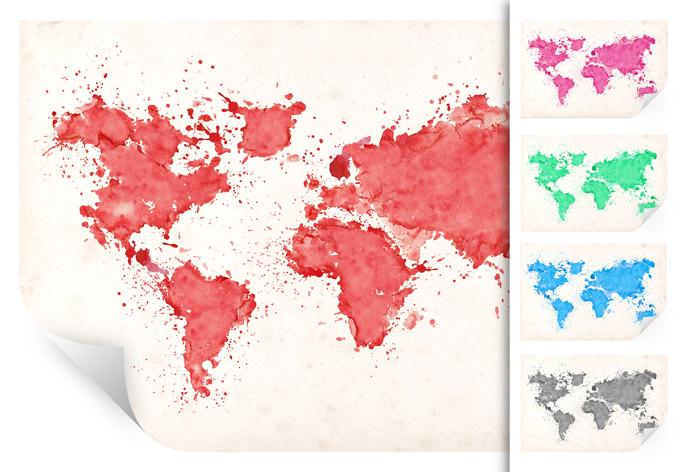 Muurprints Wereldkaart Aquarel