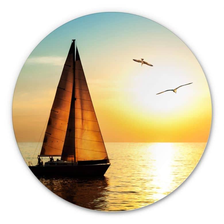 Wandcirkel Alu-Dibond Zeilboot bij Zonsondergang