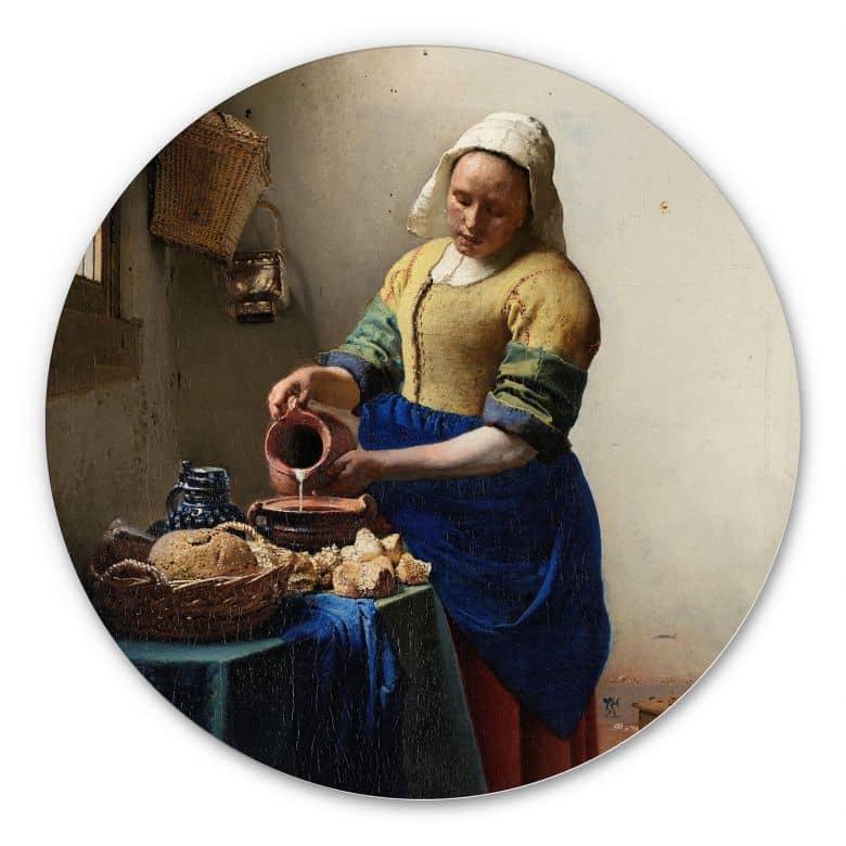 Wandcirkel Alu-Dibond Vermeer - Melkmeisje