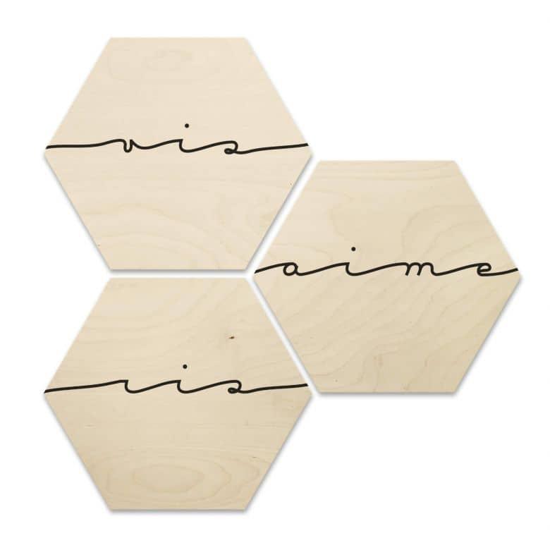 Hexagon - Holz Birke-Furnier Vis ris aime (3er Set)