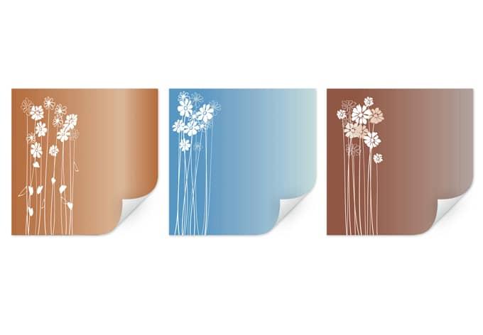 flowers triptychon blumen wandbilder wall. Black Bedroom Furniture Sets. Home Design Ideas