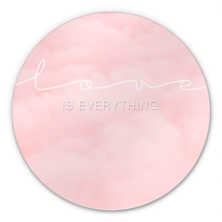 Alu-Dibond Love is everything Wolken - rosa Wolken - Rund