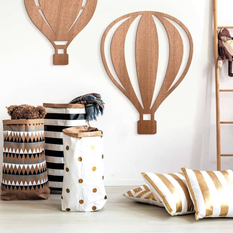 Holzdeko Mahagoni - Heißluftballon mit senkrechten Linien