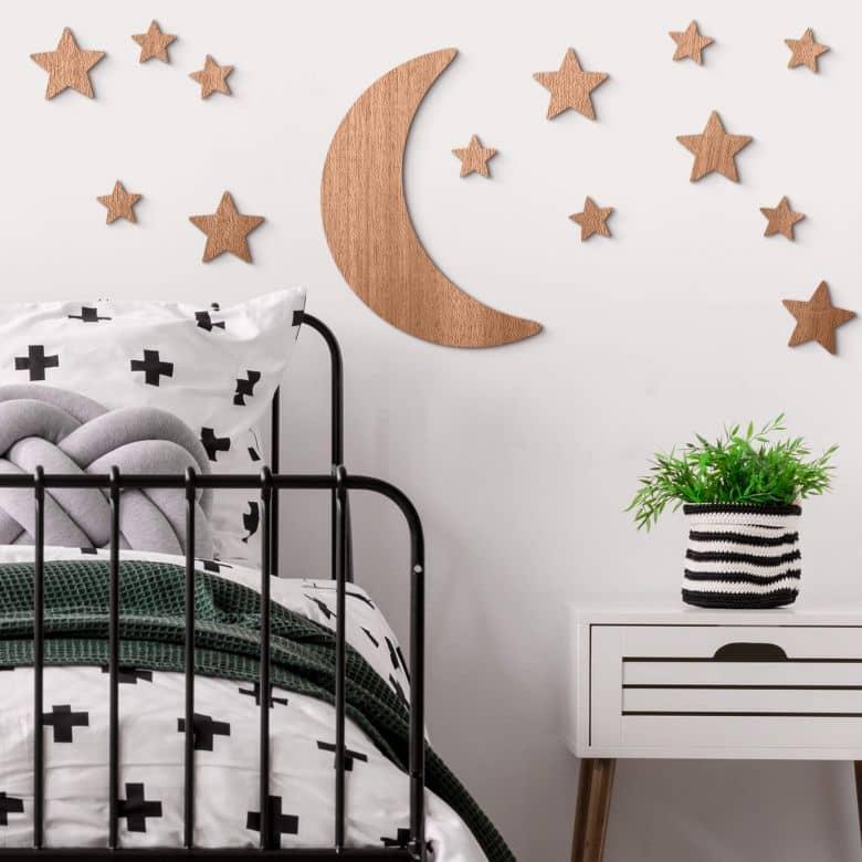 Décoration en bois acajou - Lune et étoiles