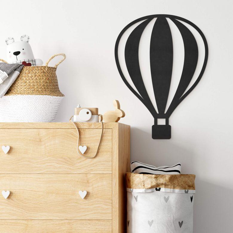 MDF - Holzdeko - Heißluftballon mit senkrechten Linien