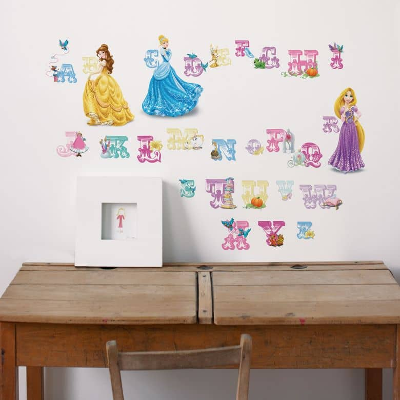 sticker mural lettres princesse disney. Black Bedroom Furniture Sets. Home Design Ideas