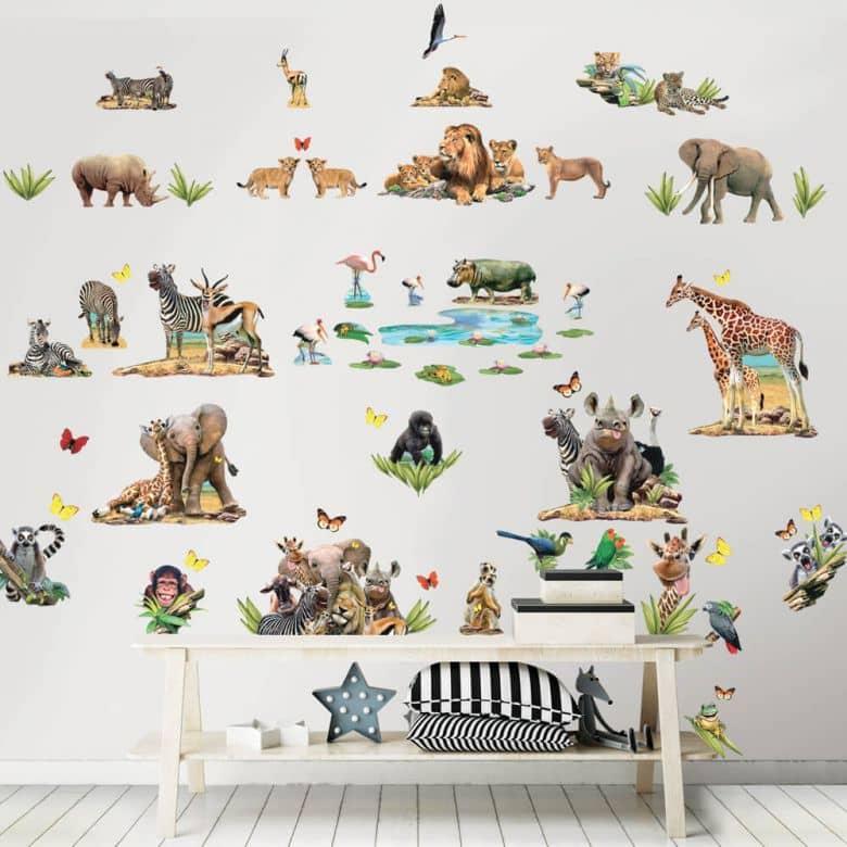 Wall sticker set Jungle Safari – 82 stickers
