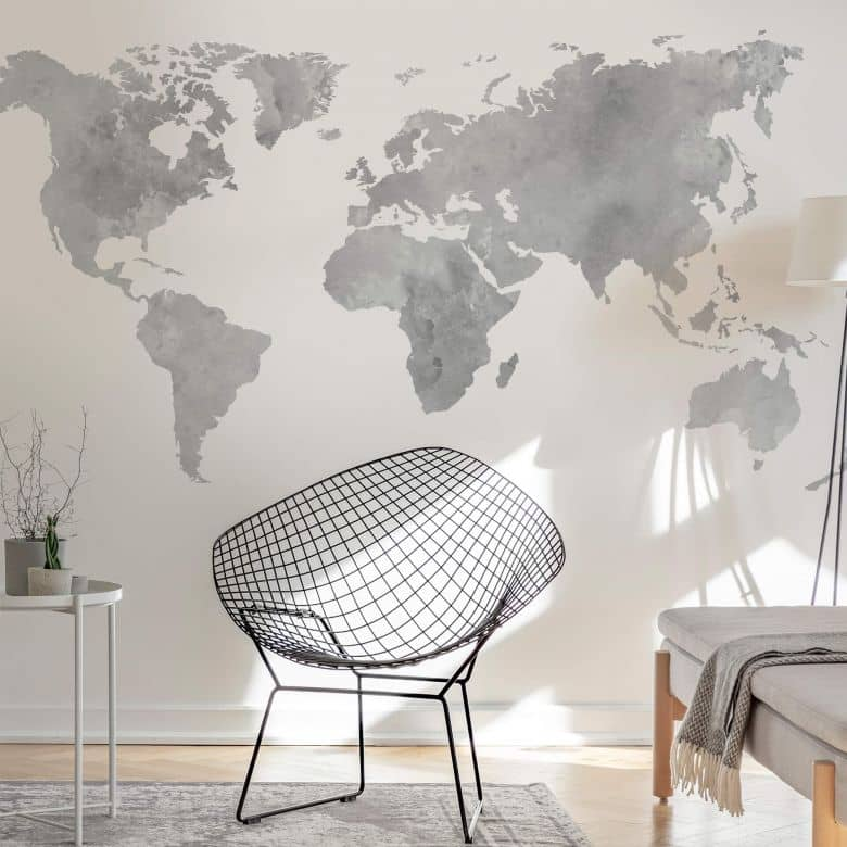 Water Colour World Map (grey)