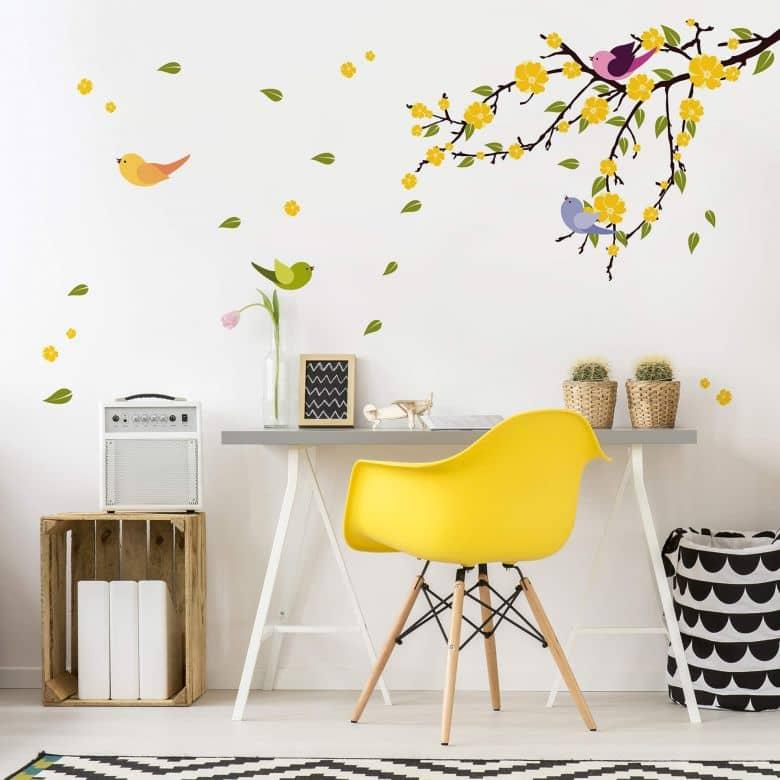 Sticker mural - Pluie de feuilles et oiseaux