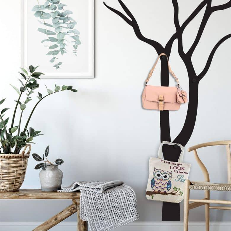 Wandtattoo Blattloser Baum + 3 Wandhaken
