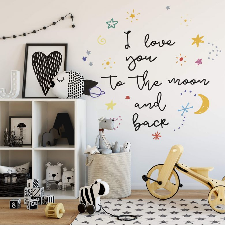 Adesivo murale - I love you to the moon and back