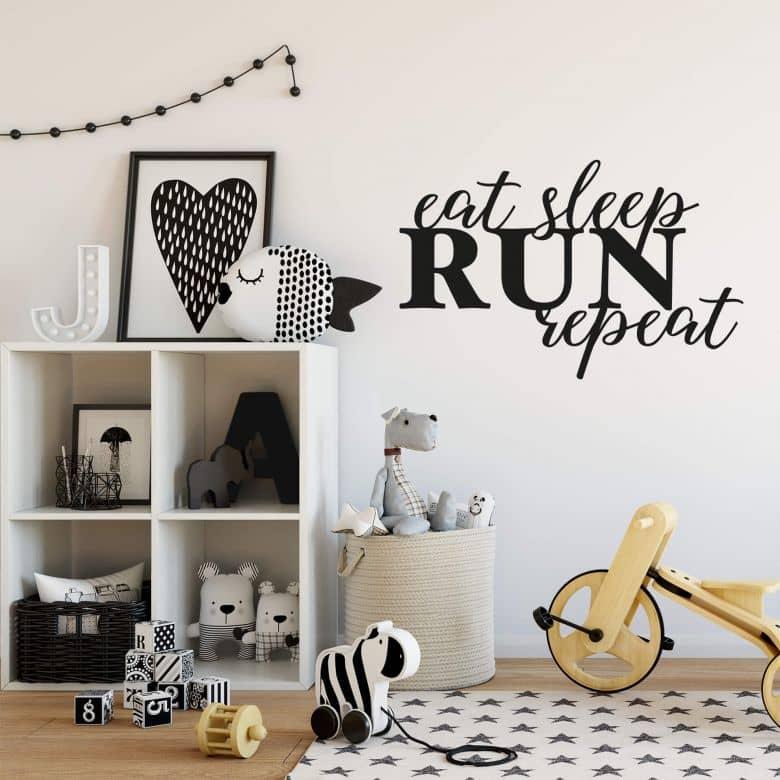Sticker mural - Eat sleep run