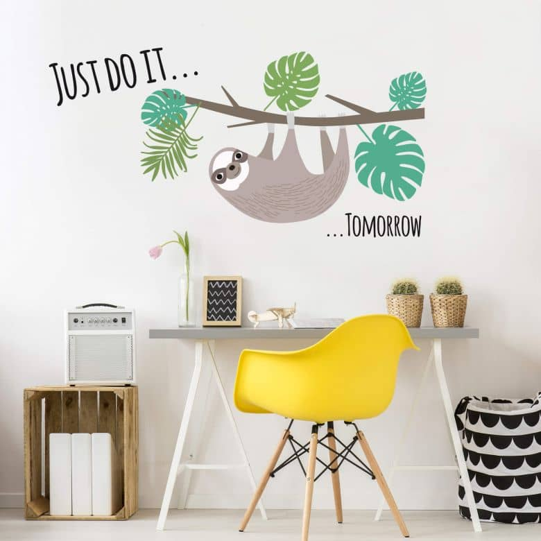 Sticker Mural Paresseux – Just do it...tomorrow