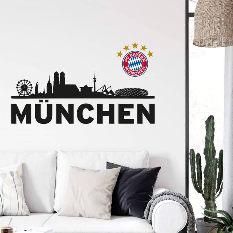 Wall sticker Bayern Munich Skyline with logo FCB