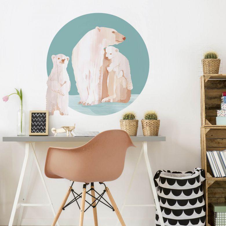 Wall sticker Goed Blauw - Polar Bear Family