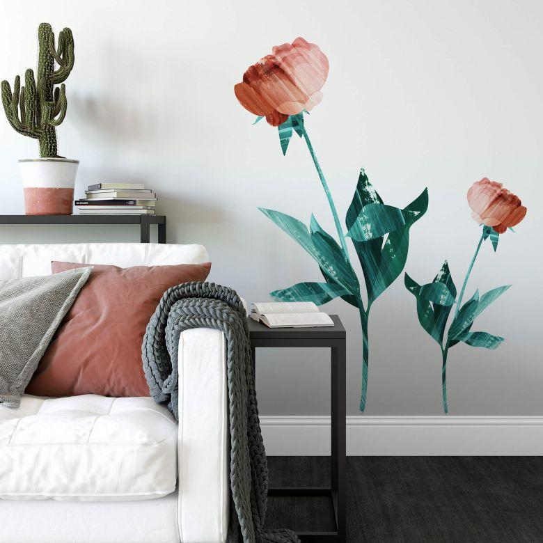 Wall sticker Goed Blauw - Roses