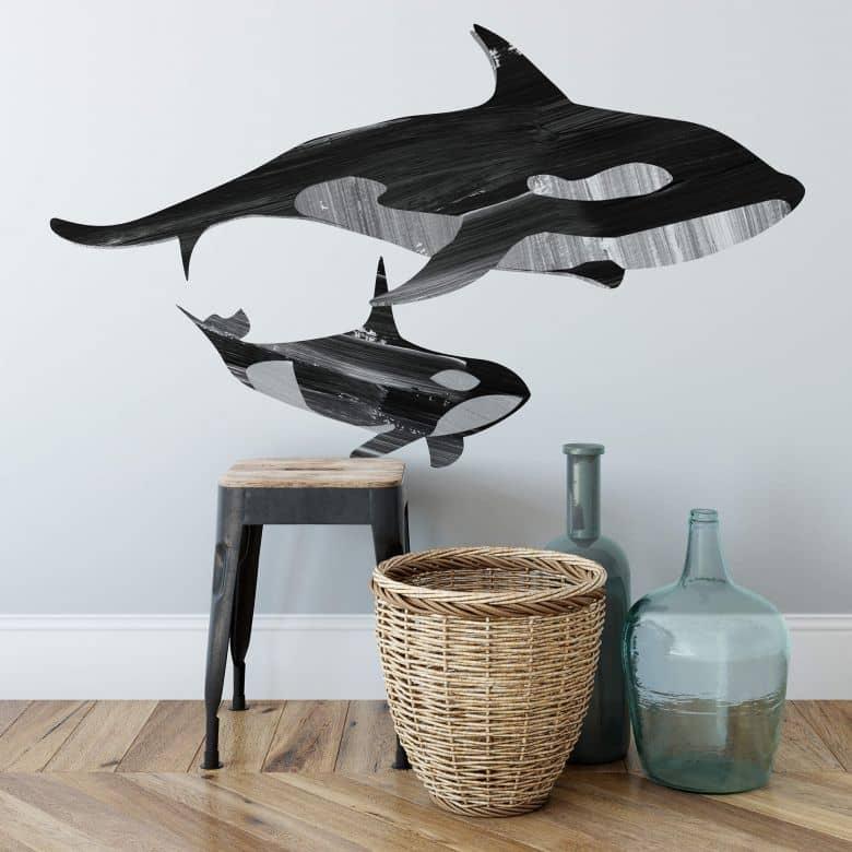 Wall sticker Goed Blauw - Whales