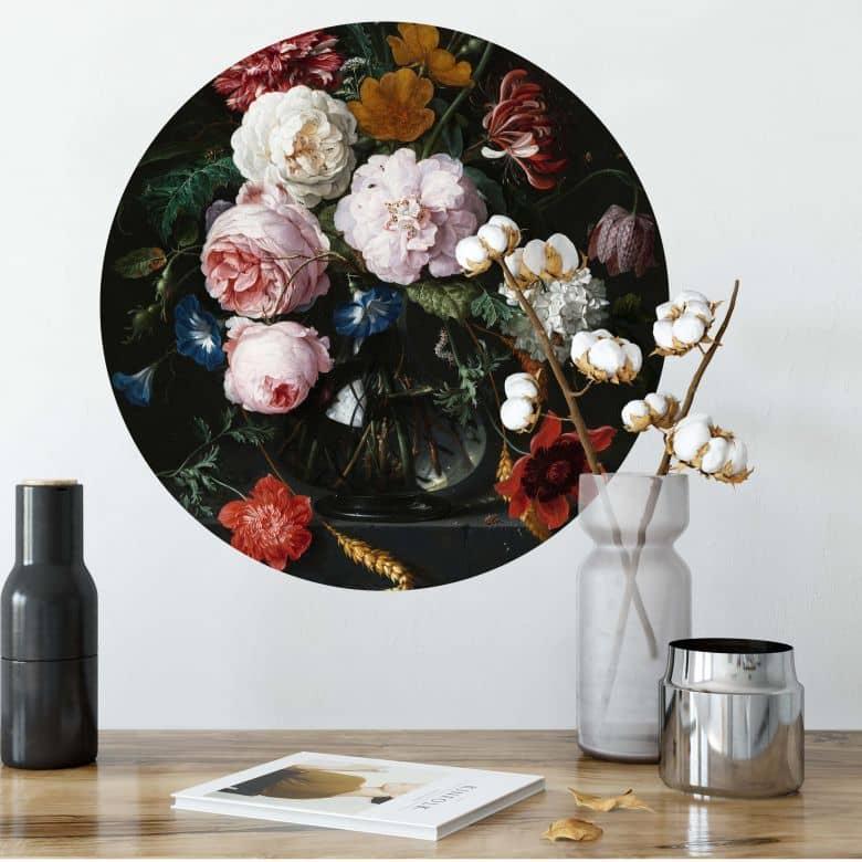 Wall sticker de Heem - Flowers in a Vase - round