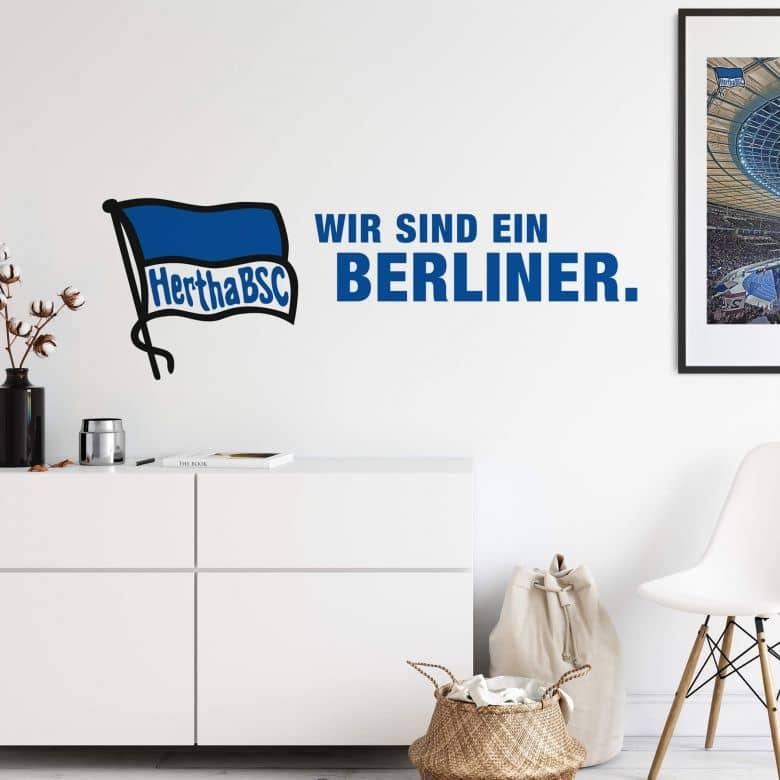 Wandtattoo Hertha Logo mit Schriftzug - Querformat