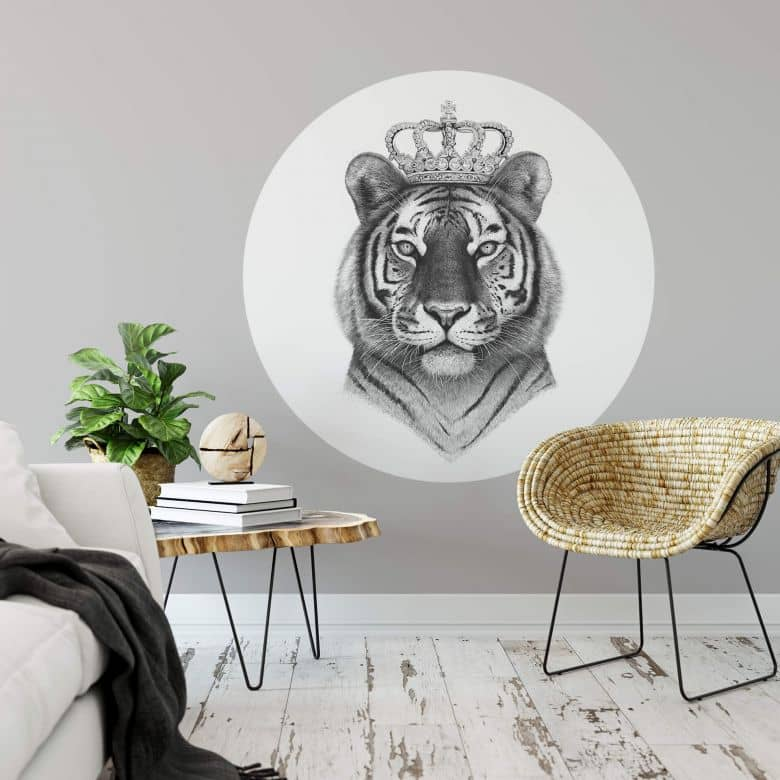 Sticker mural Korenkova - Le roi Tigre - rond