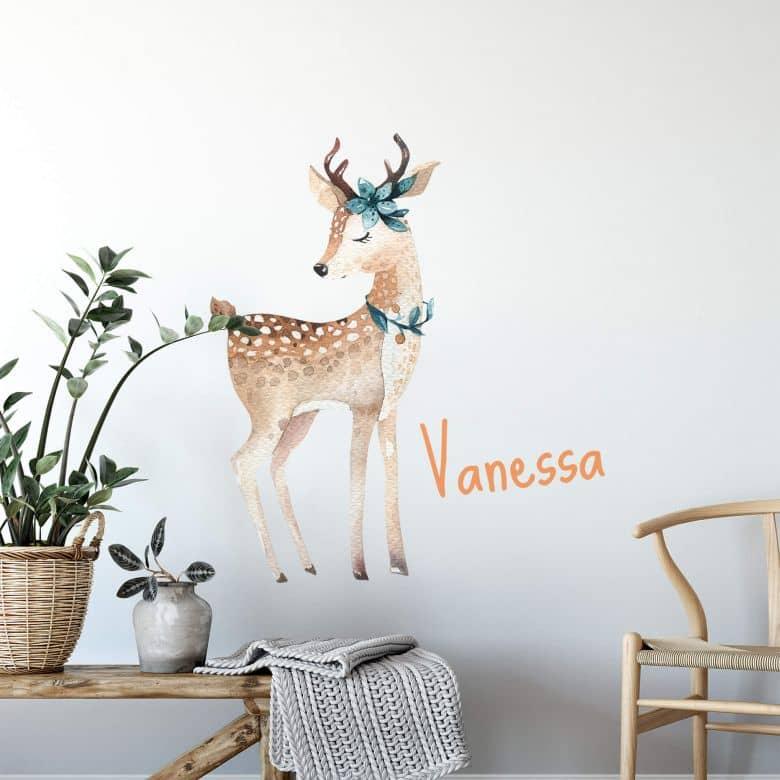 Wall sticker Kvilis - Deer + Name