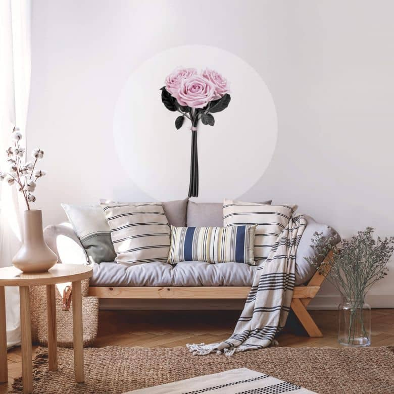 Sticker mural Kubistika - Roses sauvages - Rond