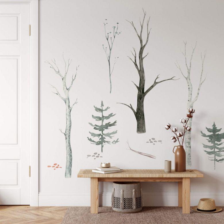 Wandtattoo Kvilis - Wald Set (10-teilig) - 120x120 cm