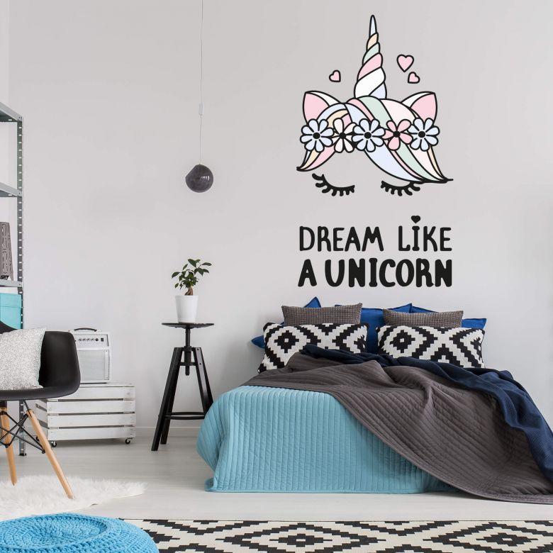 Wandtattoo Kvilis - Einhornkopf Dream like a Unicorn