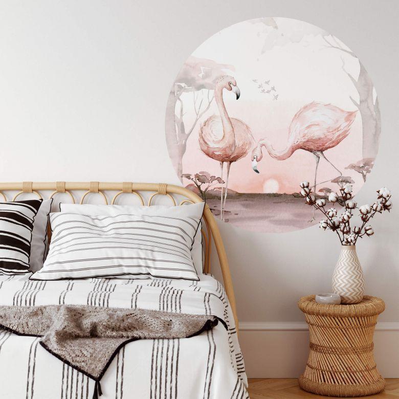 Sticker mural Kvilis - Flamants roses au coucher du soleil - Rond