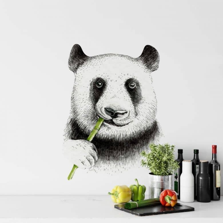 Sticker mural Kvilis - Un panda mâche du bambou