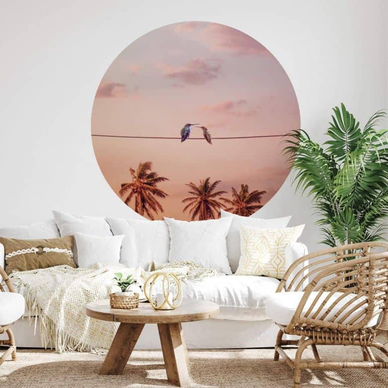 Zelfklevende Muurcirkel Loose - Hummingbirds in Love