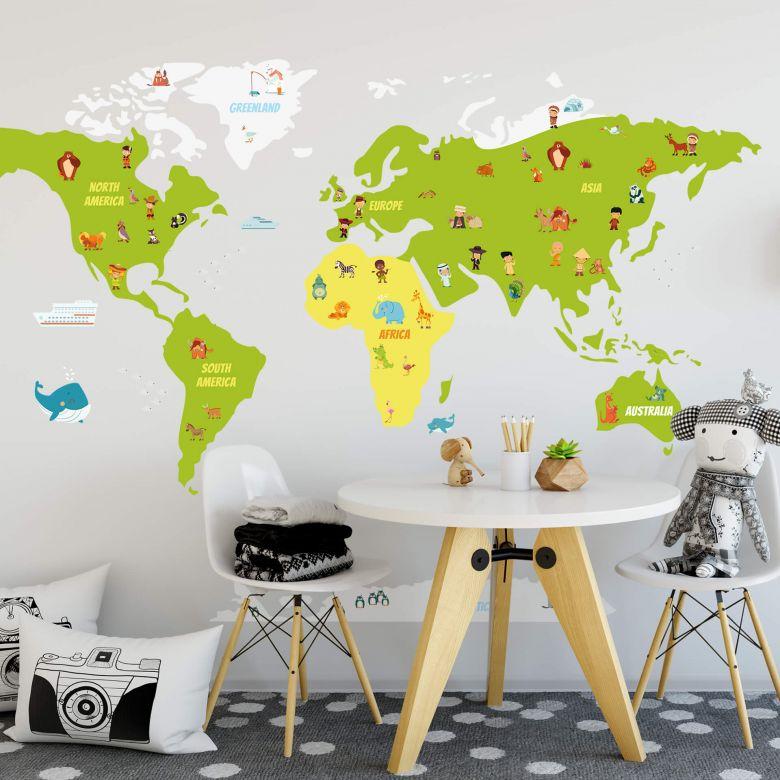 Muursticker Kinder Wereldkaart