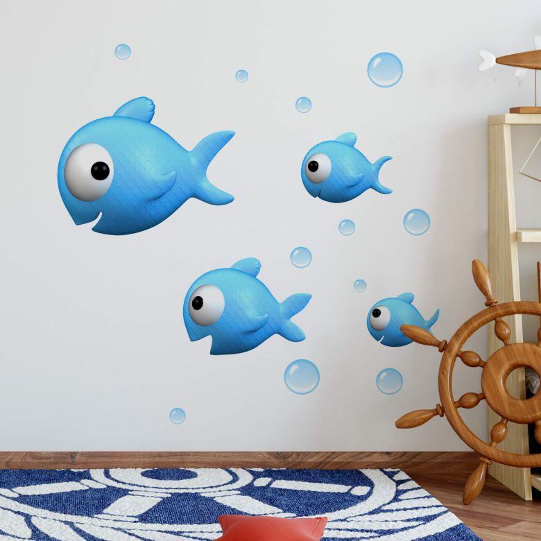 Adesivo murale Agullo - Pesciolini blu