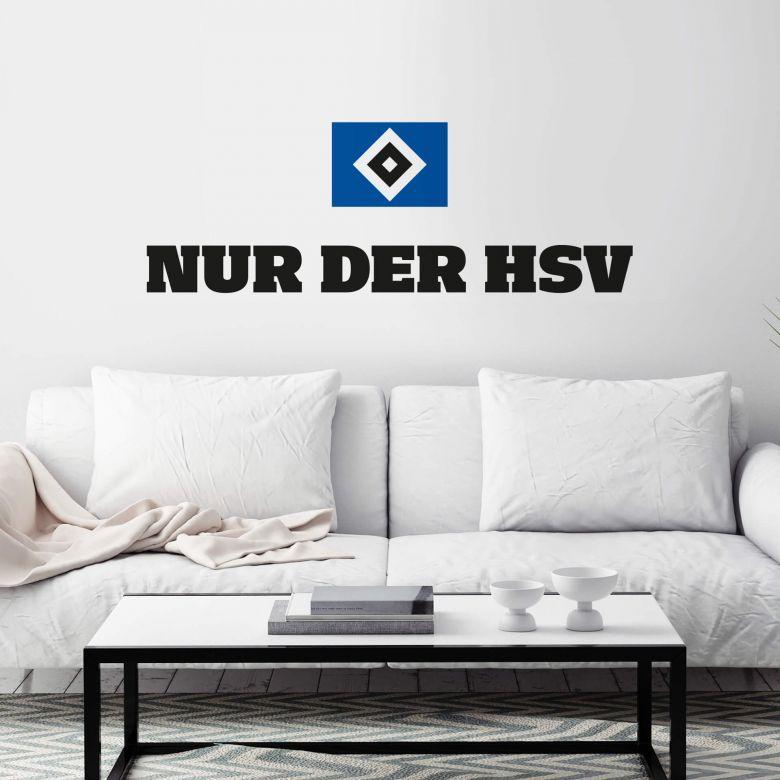 Wandtattoo Nur der HSV mit Logo farbig