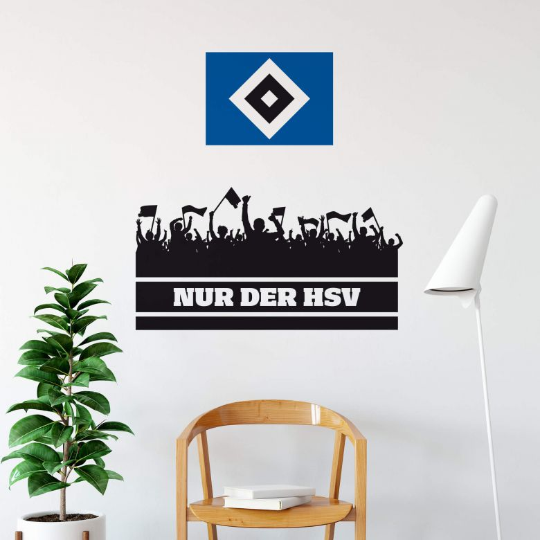 Wandtattoo Nur der HSV mit Fans und Logo farbig