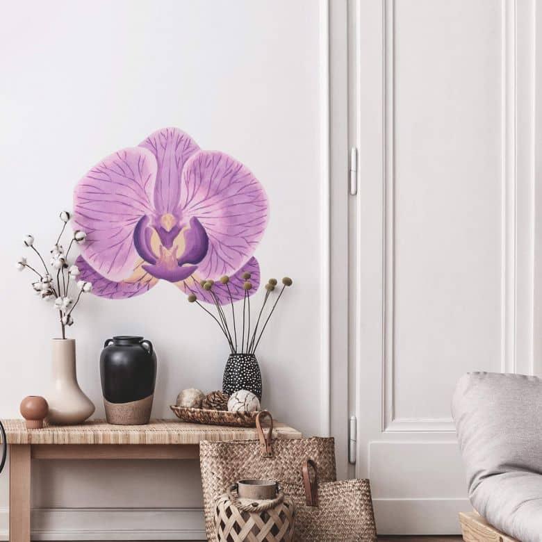 Wandtattoo Orchideenblüte Watercolor