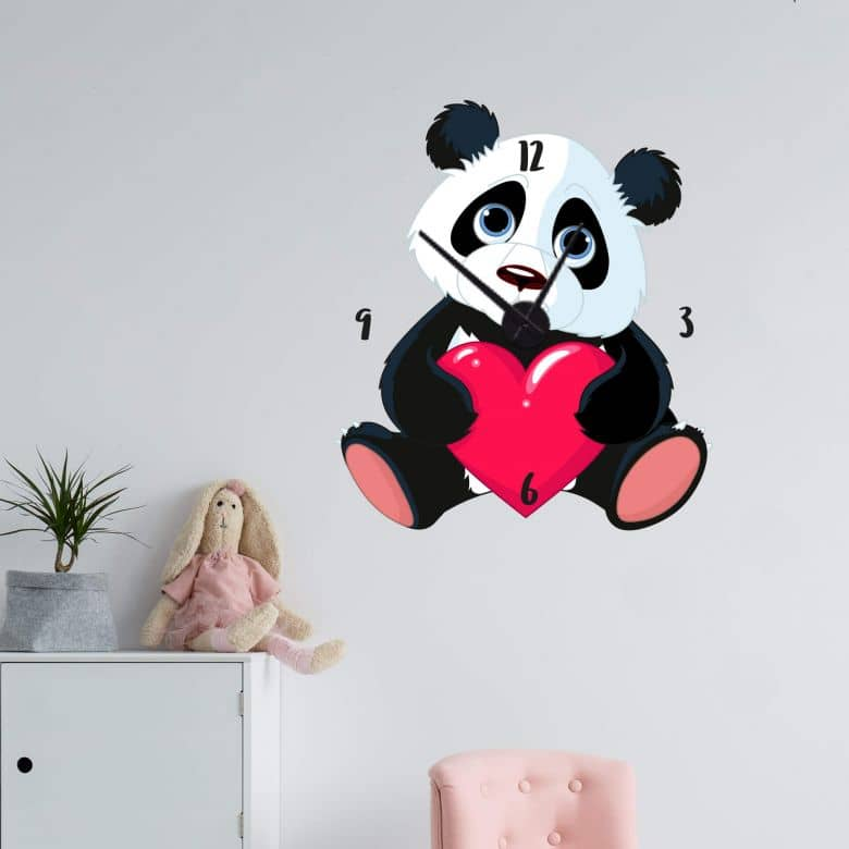 Wandtattoo Panda mit Herz Wanduhr