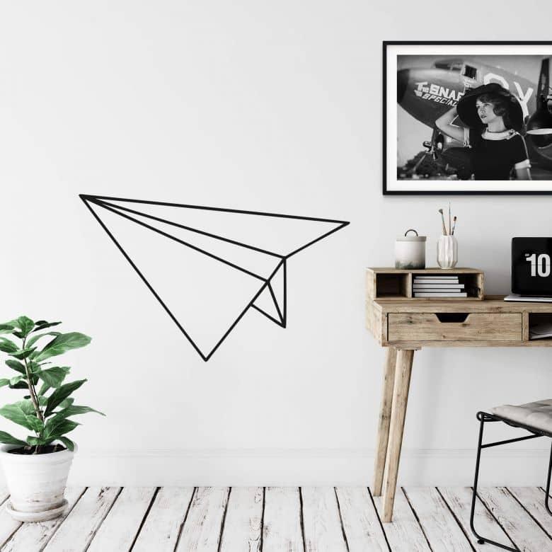 Sticker mural avion en papier