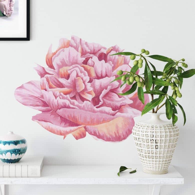 Wandtattoo Rosa Pfingstrosenblüte - Watercolor