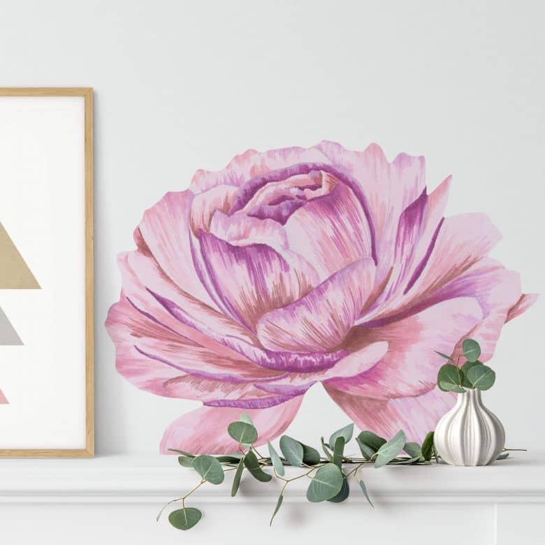 Sticker mural pivoine rose