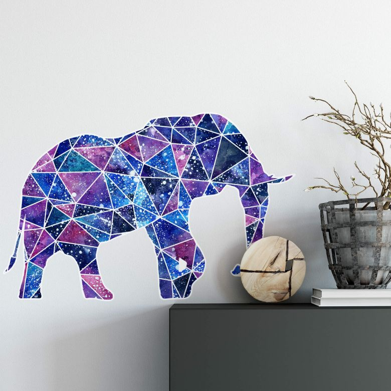 Muursticker Polygoon Galaxy Elephant