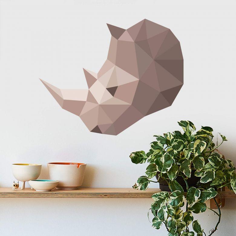 Wall sticker Rhino in geometric shape