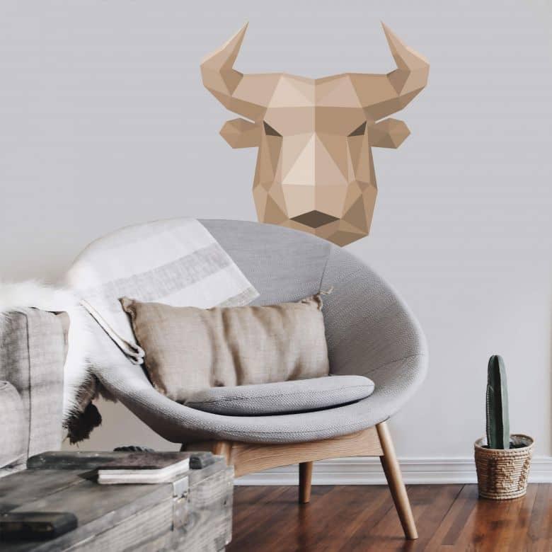 Wall sticker Bull in geometric shape